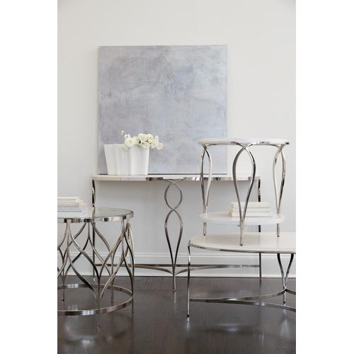 Calista Metal Oval Cocktail Table in Silken Pearl (388)