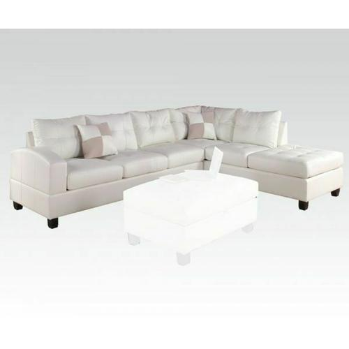 ACME Kiva Sectional Sofa w/2 Pillows (Reversible) - 51175_KIT - White Bonded Leather Match