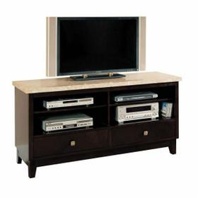 ACME Britney TV Stand - 17093B - White Marble & Walnut