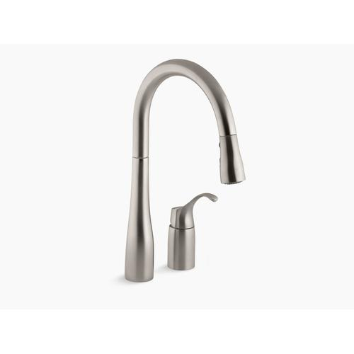 """Vibrant Stainless Two-hole Kitchen Sink Faucet With 16-1/8"""" Pull-down Swing Spout, Docknetik Magnetic Docking System, and A 3-function Sprayhead Featuring Sweep Spray"""