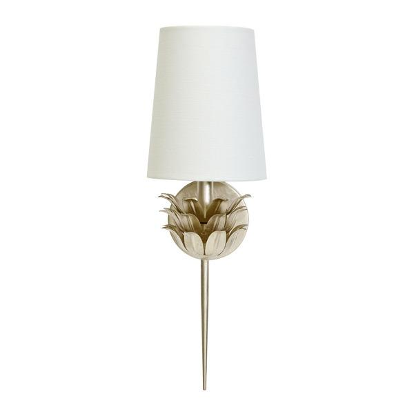 Add A Cozy Interplay of Light and Shadow To Any Room With This Elegant, One-arm Sconce Featuring A Graceful, Three-layer Botanical Motif. Finished With Hand-applied Silver Leaf and Topped With A White Linen Shade, Delilah Evokes an Inviting, Radiant Sophistication, Especially When Paired To Accentuate A Mirror or Secretary.