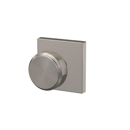 Custom Bowery Knob with Collins Trim Hall-Closet and Bed-Bath Lock - Satin Nickel