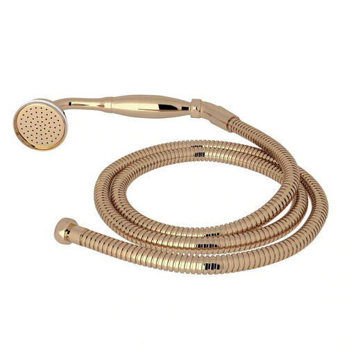 Inclined Handshower and Hose - Unlacquered Brass