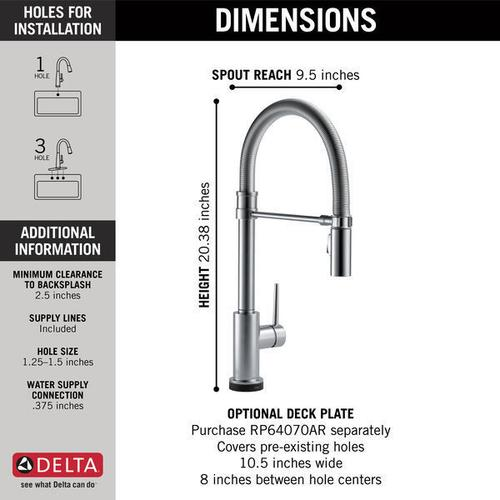 Arctic Stainless Single Handle Pull-Down Spring Spout Kitchen Faucet with Touch 2 O ® Technology