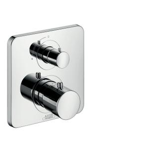 Polished Black Chrome Thermostat for concealed installation with shut-off valve Product Image