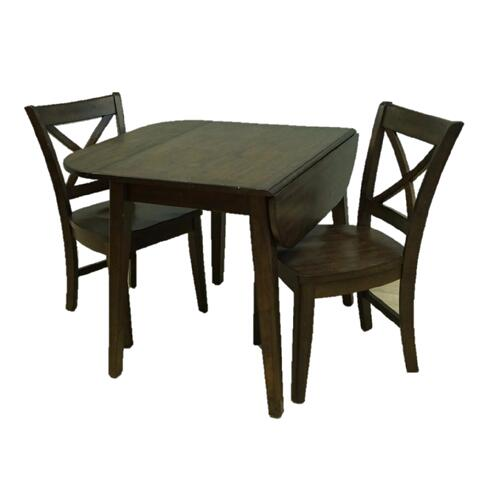 """All Wood Furniture - Table: 3642DL-EMBER Table * 36""""W x 24/33/42""""D x 30""""H * Solid Wood Top DropLeaf Leg Table - Ember Finish"""