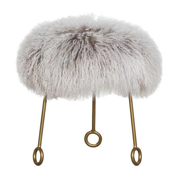 See Details - Furry Round Ottoman