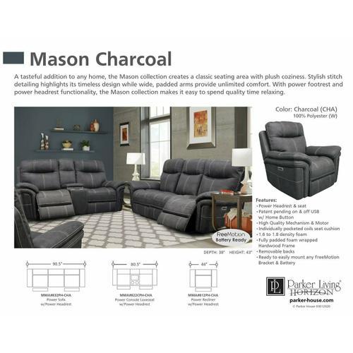 Parker House - MASON - CHARCOAL Power Console Loveseat