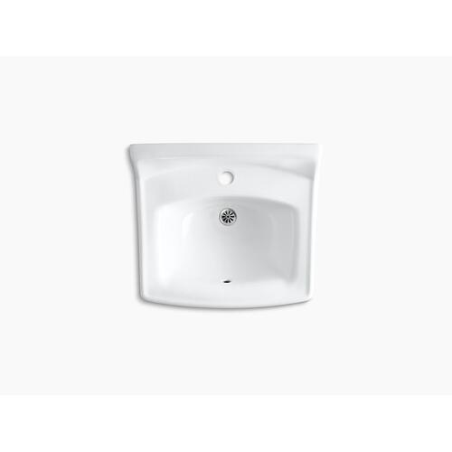 "White 20-3/4"" X 18-1/4"" Wall-mount/concealed Arm Carrier Bathroom Sink With Single Faucet Hole"