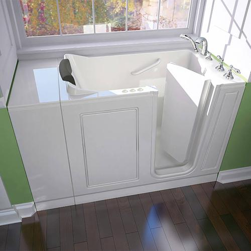 American Standard - Luxury Series Right Drain Walk-in Tub Combination Massage with Tub Faucet  American Standard - White
