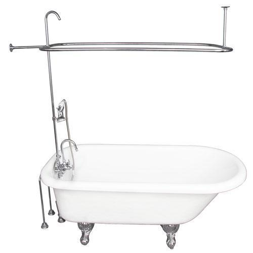 "Atlin 67"" Acrylic Roll Top Tub Kit in White - Polished Chrome Accessories"