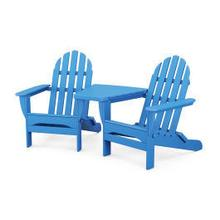 View Product - Classic Folding Adirondacks with Connecting Table in Pacific Blue