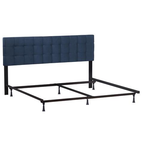 Delaney Upholstered King Headboard With Frame, Blue Velvet