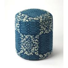 Simple and unpretentious, this stylish transitional pouffe is perfect for resting your feet or for extra seating in the living room, den or bedroom. With a cotton upholstered outer shell over mango wood solids and wood products, its print fabric features calming blue hues that will imbue casual comfort to any space.