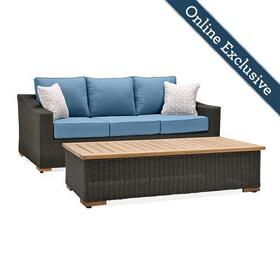 New Boston 2pc Wicker Patio Conversation Set w/ Blue Cushion