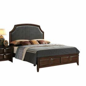 ACME Lancaster Eastern King Bed - 24567EK - Espresso PU & Espresso