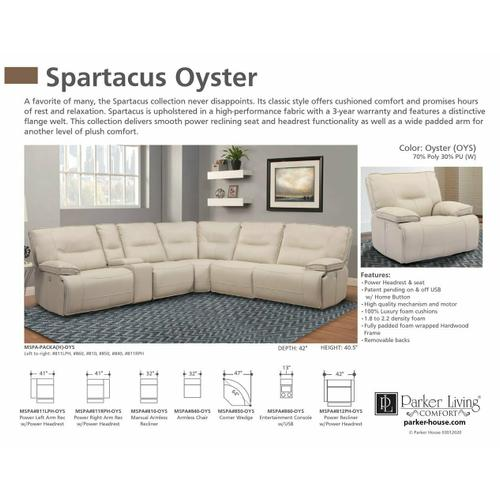 Parker House - SPARTACUS - OYSTER Power Left Arm Facing Recliner