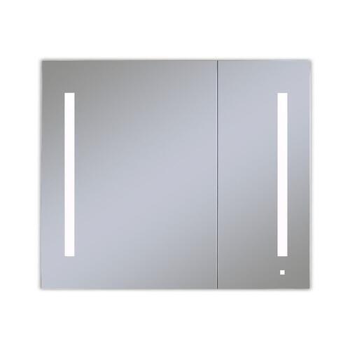 """Aio 35-1/4"""" X 30"""" X 4"""" Dual Door Lighted Cabinet With Large Door At Left With Lum LED Lighting In Bright White (4000k), Dimmable, Built-in Om Audio, Interior Lighting, Electrical Outlet, Usb Charging Ports and Magnetic Storage Strip"""
