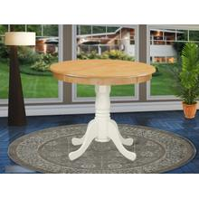 """Antique Table 36"""" Round with Oak and Linen White Finish"""
