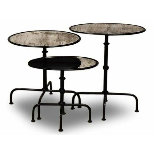 Parker House - CROSSINGS THE UNDERGROUND Accent Table of 3 (Made of Iron & Mirror)