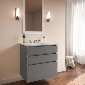 """Curated Cartesian 24"""" X 7-1/2"""" X 21"""" and 24"""" X 15"""" X 21"""" Three Drawer Vanity In Matte Gray Glass With Tip Out Drawer, Slow-close Plumbing Drawer, Full Drawer and Engineered Stone 25"""" Vanity Top In Quartz White (silestone White Storm) Product Image"""