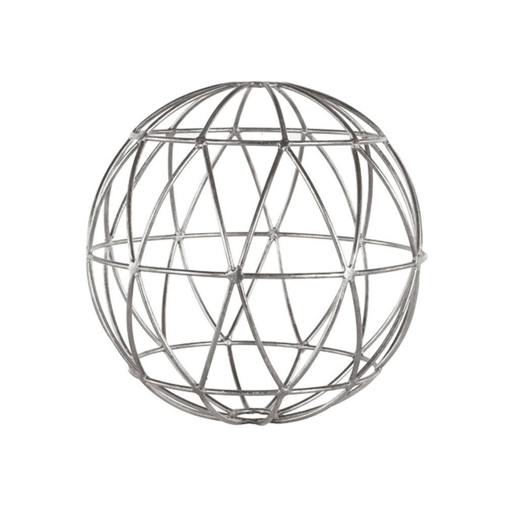 See Details - Silver Leaf Geometric 9 Inch Sphere.