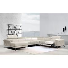 Divani Casa Gilsum Modern Light Grey Leather Sectional w/ Recliner