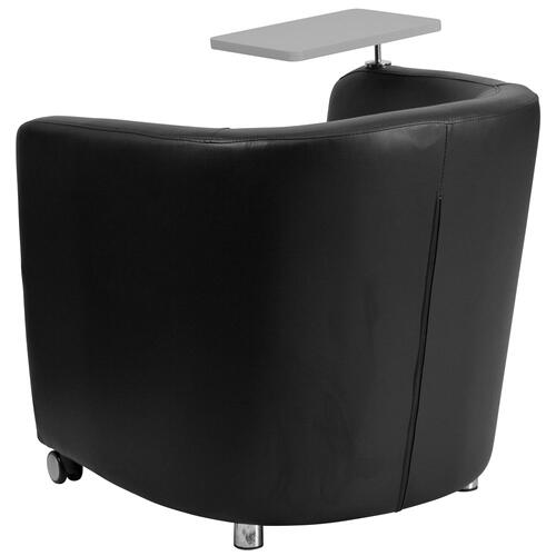 Black Leather Guest Chair with Tablet Arm, Front Wheel Casters and Under Seat Storage