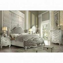 ACME Versailles Queen Bed - 21150Q - Vintage Gray PU & Bone White