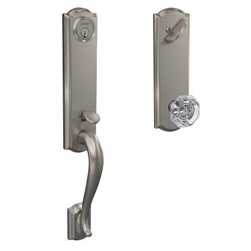 Custom Camelot 3/4 Trim Single Cylinder Handleset with Alexandria Glass Knob - Satin Nickel
