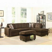 ACME Belville Sectional Sofa w/Pillows (Reversible) - 52700 - Chocolate Velvet