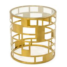 View Product - Modrest Kudo - Glam Clear Glass and Gold Glass End Table