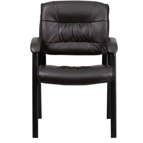Brown Leather Executive Side Reception Chair with Black Metal Frame