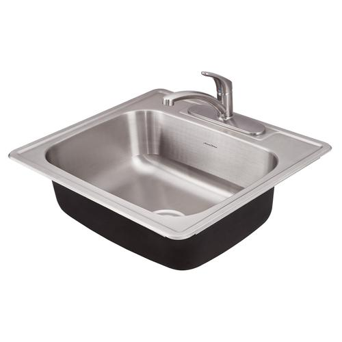 American Standard - Colony 25x22 Single Bowl Kitchen Sink Kit with Faucet and Drain  American Standard - Stainless Steel