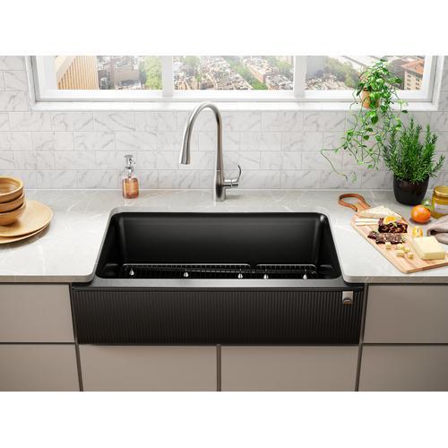 Matte Grey Undermount Single-bowl Farmhouse Kitchen Sink With Fluted Design