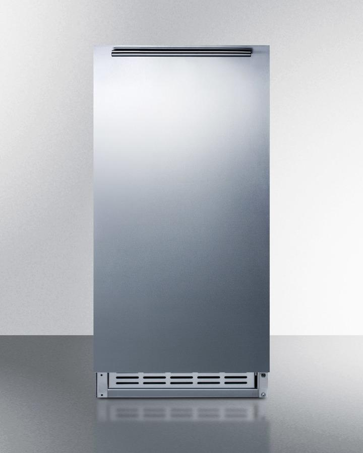 SummitBuilt-In Undercounter Ada Compliant Manual Defrost Icemaker With Complete Stainless Steel Wrapped Exterior Finish; No Drain Required