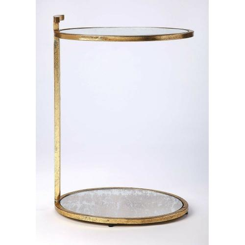 Butler Specialty Company - Clean, contemporary, and your sofa or chair's new sidekick, this side table lends a helping hand for a lamp, your favorite beverage, and more. Its ovular, minimalist design features a stylish gold finished iron frame with an antique mirrored mirrored glass top and lower display shelf. Great for small spaces.