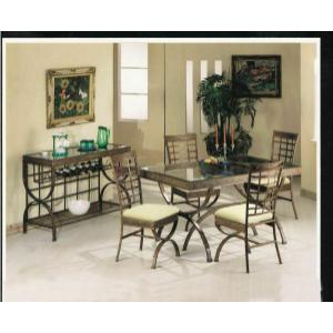 ACME Egyptian Dining Table - 08630 - Bronze Patina & Clear Glass
