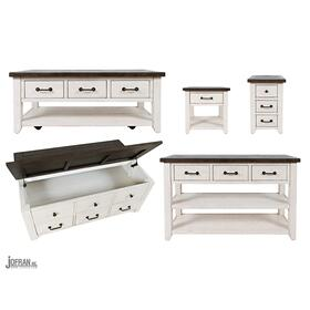 Madison County Harris 3 Drawer Cocktail Table- Vintage White