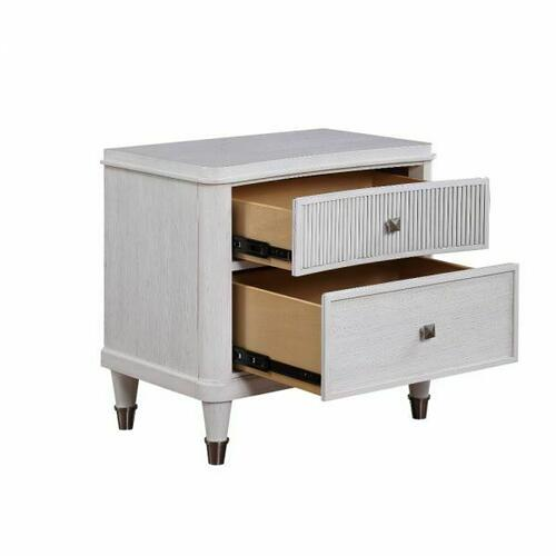 ACME Celestia Nightstand (Reeded Top Drw) - 22127 - Coastal - Wood (Solid Poplar), Wood Veneer (Oak), Poly-Resin, MDF, Ply, PB - Off White
