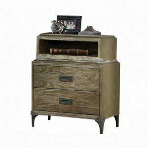 ACME Athouman Nightstand (Qi Wireless Charge) - 23927 - Weathered Oak