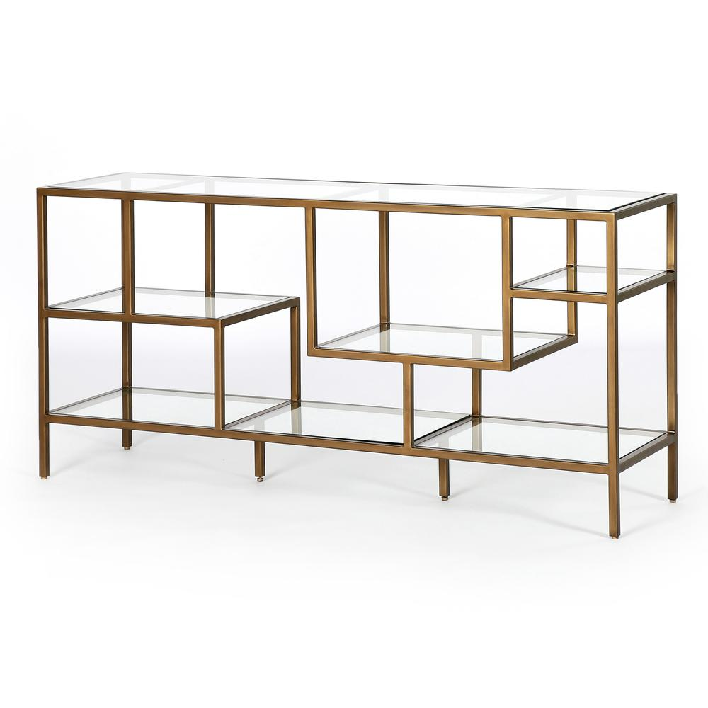 Helena Brass Media Console-antique Brass