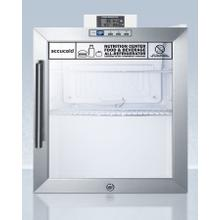 View Product - Commercially Approved Compact Nutrition Center Series Glass Door All-refrigerator With Front Lock and Digital Temperature Display