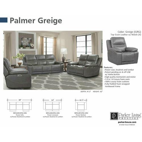 Parker House - PALMER - GREIGE Power Loveseat