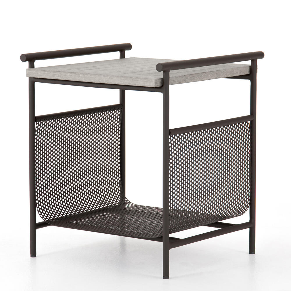 Weathered Grey Finish Ledger Outdoor End Table