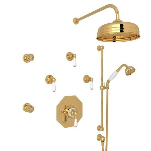 English Gold Perrin & Rowe Edwardian Thermostatic Shower Package with Edwardian Metal Lever