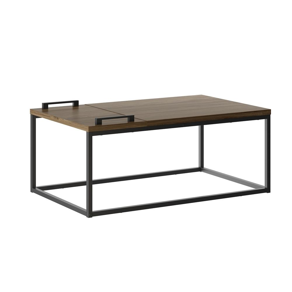 The Noa Cocktail Table Part Of Our Kd Collection In Dark Brown Oak Melamine With Black Painted Metal Frame And Removable Tray.