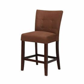 "ACME Baldwin Counter Height Chair (Set-2) - 16833 - Chocolate Microfiber & Walnut - 24"" Seat Height"