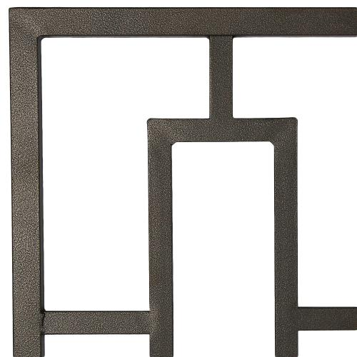 Fashion Bed Group - Miami Metal Headboard and Footboard Bed Panels with Geometric Designed Grills and Squared Tubing, Coffee Finish, King