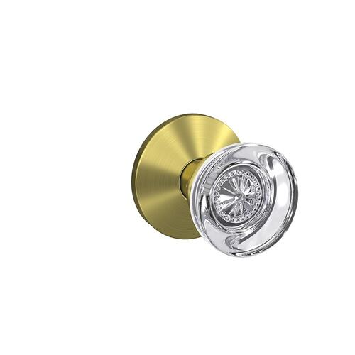 Custom Hobson Glass Knob with Kinsler Trim Hall-Closet and Bed-Bath Lock - Satin Brass